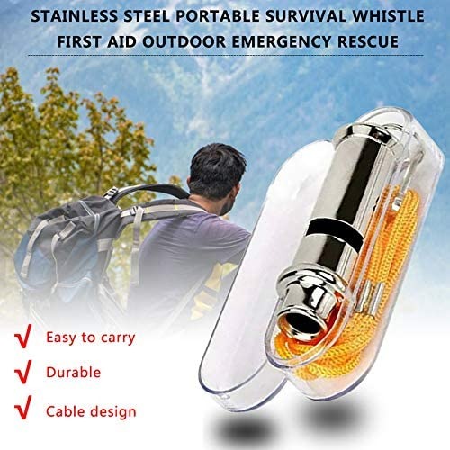 KEKDORY Edelstahl Portable Survival Whistle Erste-Hilfe-Kits Outdoor-Notfall-Signal Rescue Camping Wandern Outdoor-Tools Silber
