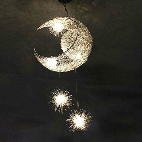 Silver Aluminum Fairy Moon and Star Ceiling Lamp Pendant Light for Children Kids Bedroom (Silver)