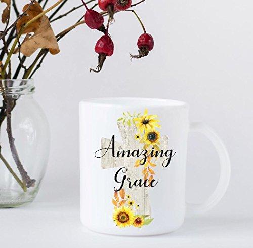 Coffee Mug - Amazing Grace - Wood Cross with Sunflowers