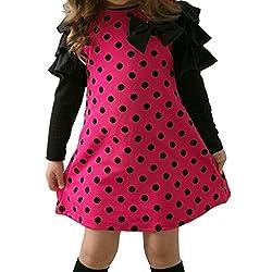 Acecharming Little Girls Dot Bowknot Long Sleeve Princess Dress Top Size 2-3years