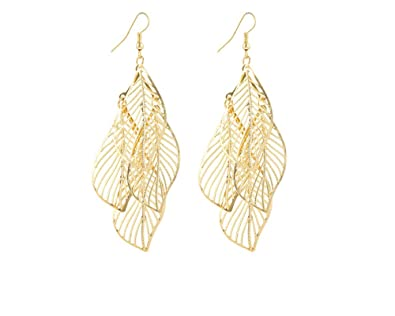 587508cfe8ddcb Image Unavailable. Image not available for. Color: Shanel Women's Filigree  Leaf Earrings Gold Oversized Dangles Lightweight Cutout Jewelry