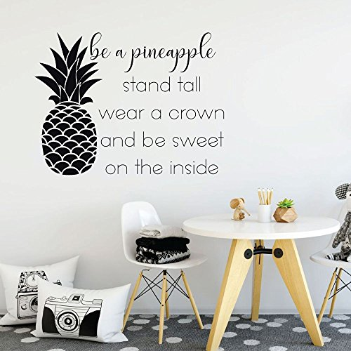 Design Tropical Decoration (Pineapple Wall Decor - Be A Pineapple Stand Tall Wear A Crown - With Hawaiian Tropical Pineapple Design - Bedroom Decoration)