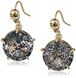 """Betsey Johnson """"Skeletons After Dark"""" Patina Faceted Stone Drop Earring"""