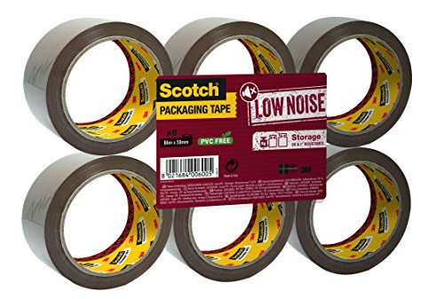 3M Scotch Storage Tape, Low Noise Brown Packaging Tape Refills, 1 x Flat Pack of 6 Rolls, 50 x 66 mm