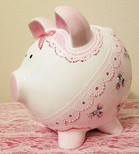 Cookie Jar Hand Painted Shabby Chic Ceramic Pig (Jars Cookie Pig)