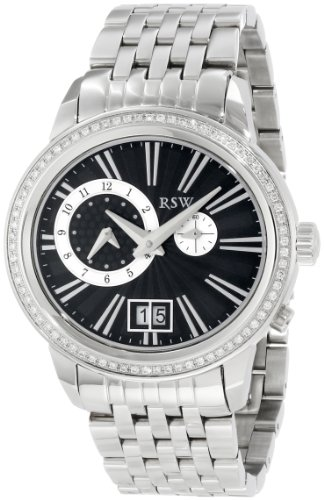 RSW Men's 9140.BS.S0.1.D1 Consort Oval Black Dial Steel Diamond Dual Time Date Watch