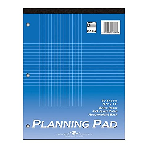 Roaring Spring Graph Planning Pad 8.5 x 11 Inches 4x4 Graph Ruled 80 Sheets of White Paper Extra Heavy Back Glued and Taped Construction - Graph Pad
