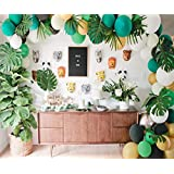 Jungle Safari Theme Party Decorations 175pcs:130 latex balloons,24 Green Palm Leaves, 16 feets Arch Balloon strip tape, 2 Balloon tying tools, 1 Air Pump Safri Party Supplies and Favors for Kids Boys Birthday Baby Shower Decor