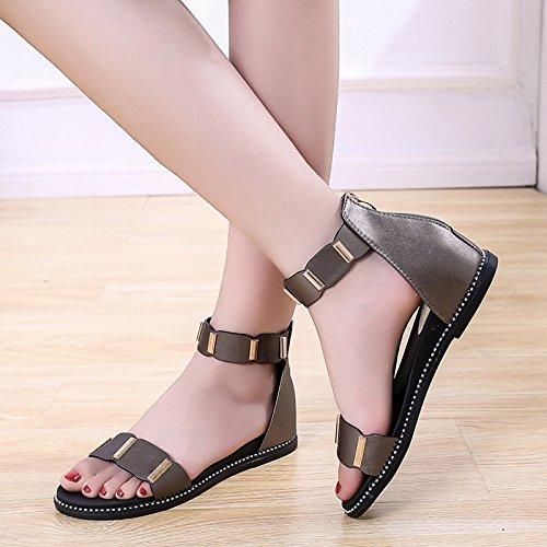 Verano Sandalias Zapatillas Dama Plano YMFIE Toe Fondo Playa Nuevo Antideslizante Zipper Toe cómodas black de dBqxCwZY