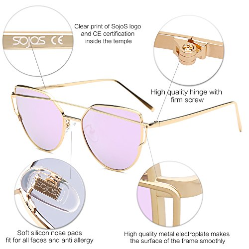 Twin Mode Or Sunglasses SJ1001 Fashion Cateye SOJOS Miroité Cadre Street Lunette Lentille Plats Chat Œil de Women Soleil Violet Lentille C7 Verres Metallique de Beams Femme 5dqqwfHg