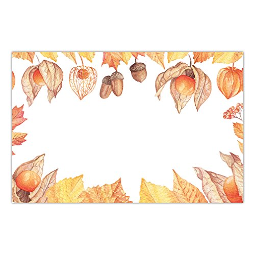 Autumn Season Paper Placemats 25 Pack Classic Fall Design Rustic Leaves Place Mats Kids Adult Halloween Costume Parties Luncheon Thanksgiving Dinner Disposable Easy Cleanup 17