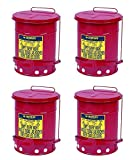 Justrite J09100 09100; Galvanized-steel; Safety cans; For Oily waste; Red; Foot Operated cover, ventilated Bottom; Reinforced ribs; Self-closing; UL listed; FM approved; Capacity:6 gal. (Pack of 4)