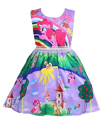 LEMONBABY My Little Pony Sleeveless Princess Birthday Party Dress ¡ (4-5Y, Purple Garden) -