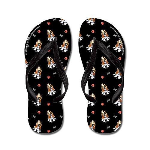 CafePress Bassets Bones N Paws Black - Flip Flops, Funny Thong Sandals, Beach Sandals Black