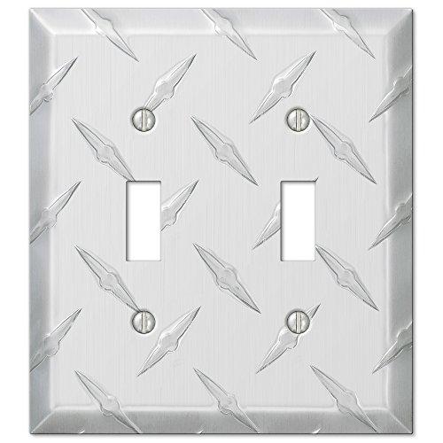 Amertac 955TT 2 Toggle Diamond Stamped Aluminum Wallplate (CECOMINOD025596) ()