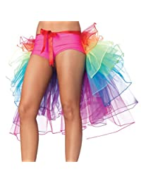 Women's Dancing Skirt Lace Rainbow Bustle Skirt Ruffle Tiered Clubwear One Size