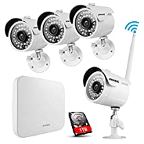 ANNKE 1080P HDMI NVR Wi-Fi Wireless Security Camera System with 1000GB Hard Drive and (4) 720P HD Outdoor Wireless Cameras Night Vision, WiFi Easy Installation No Video Cables Needed