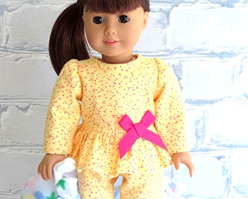 Flannel Doll Pajamas in Bright Yellow with Sparkly Pink Slippers Handmade to fit 18 inch Doll
