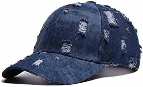 c3515d4a353f4 BAOBAO Messy High Bun Ponytail Damaged Denim Baseball Cap with Hook and Loop