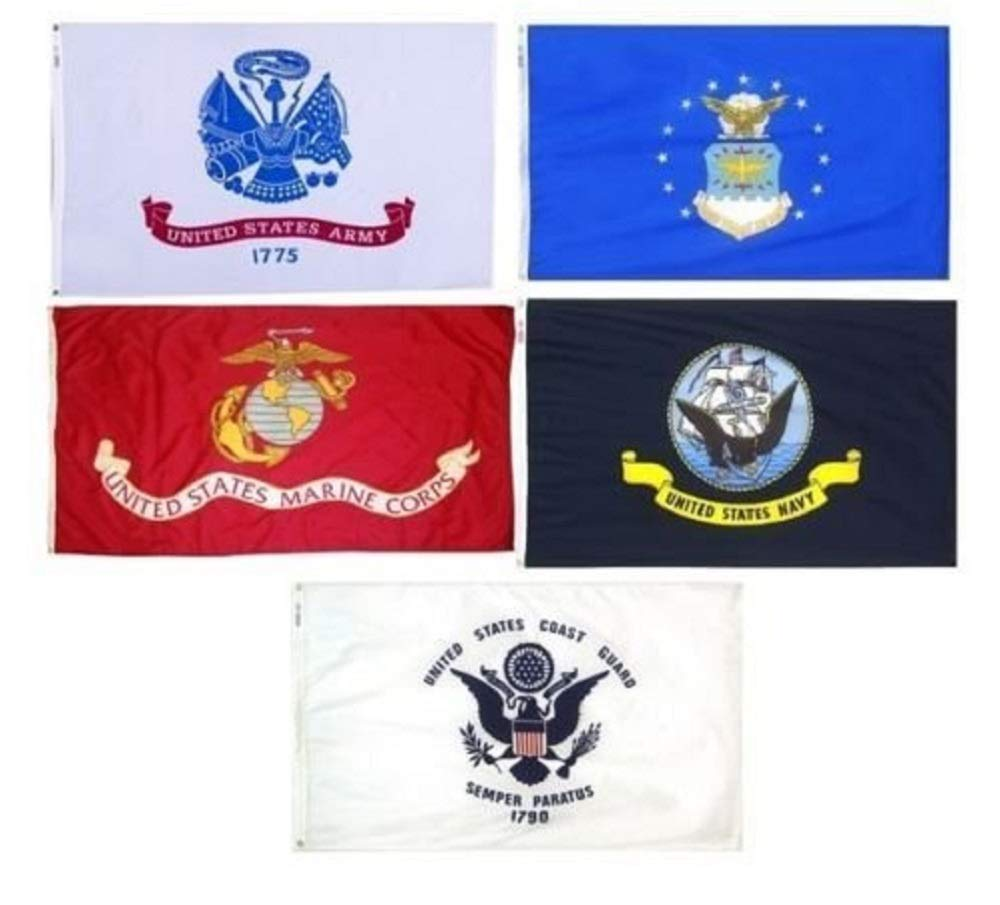 3X5 Military 5 Branches Armed Forces DOUBLE SIDED Nylon FLAG Set Flags 3ftx5ft