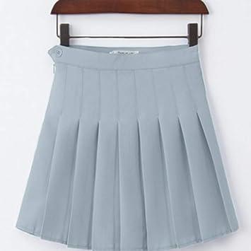 Falda,Azul Gris Mujer Moda Verano Cintura Alta Falda Plisada Falda ...