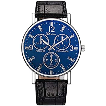 Noopvan Womens Watches Womens Blue Face Fashion Casual Analog Wrist Quartz Leather Band Watches on Sale (Black)