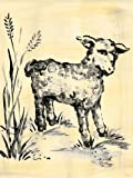 Oopsy Daisy Toile Lamb Cream and Black Stretched Canvas Wall Art by Heather Gentile-collins, 18 by 24-Inch