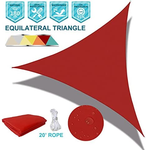 Coarbor Waterproof UV Block 23 x23 x23 Sun Shade Sail Canopy Triangle 180 GSM Polyester for Pergola Carport Awning Patio Yard- Customized Red