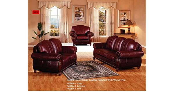 Amazon.com: Brown Color Italian Leather Sofa Set with Wood ...