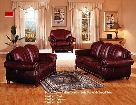 Amazon Com Brown Color Italian Leather Sofa Set With Wood Trim