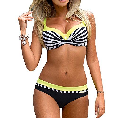Imbottito Juleya Pezzi Push Grandi Giallo Up Bagno Due da da Righe Costume da Costumi Donna Bikini Beachwear Mare a Costumi Intero Bagno Spiaggia Taglie Swimwear PAUrwP4q