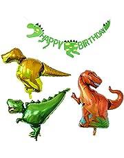 PuTwo Birthday Balloons 3 Jumbo Dinosaur Mylar/Foil Balloons & 1 Dinosaur Happy Birthday Banner Party Decoration for Boy's Birthday for Dinosaur Theme Party Jurassic Theme Party - Red & Yellow & Green