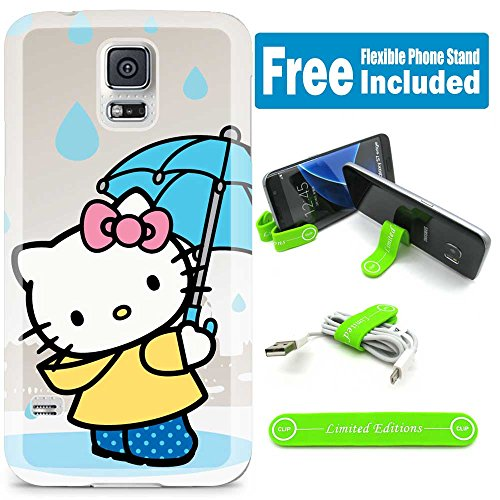 [Ashely Cases] For Samsung Galaxy Note 4 Cover Case Skin with Flexible Phone Stand - Hello Kitty Umbrella