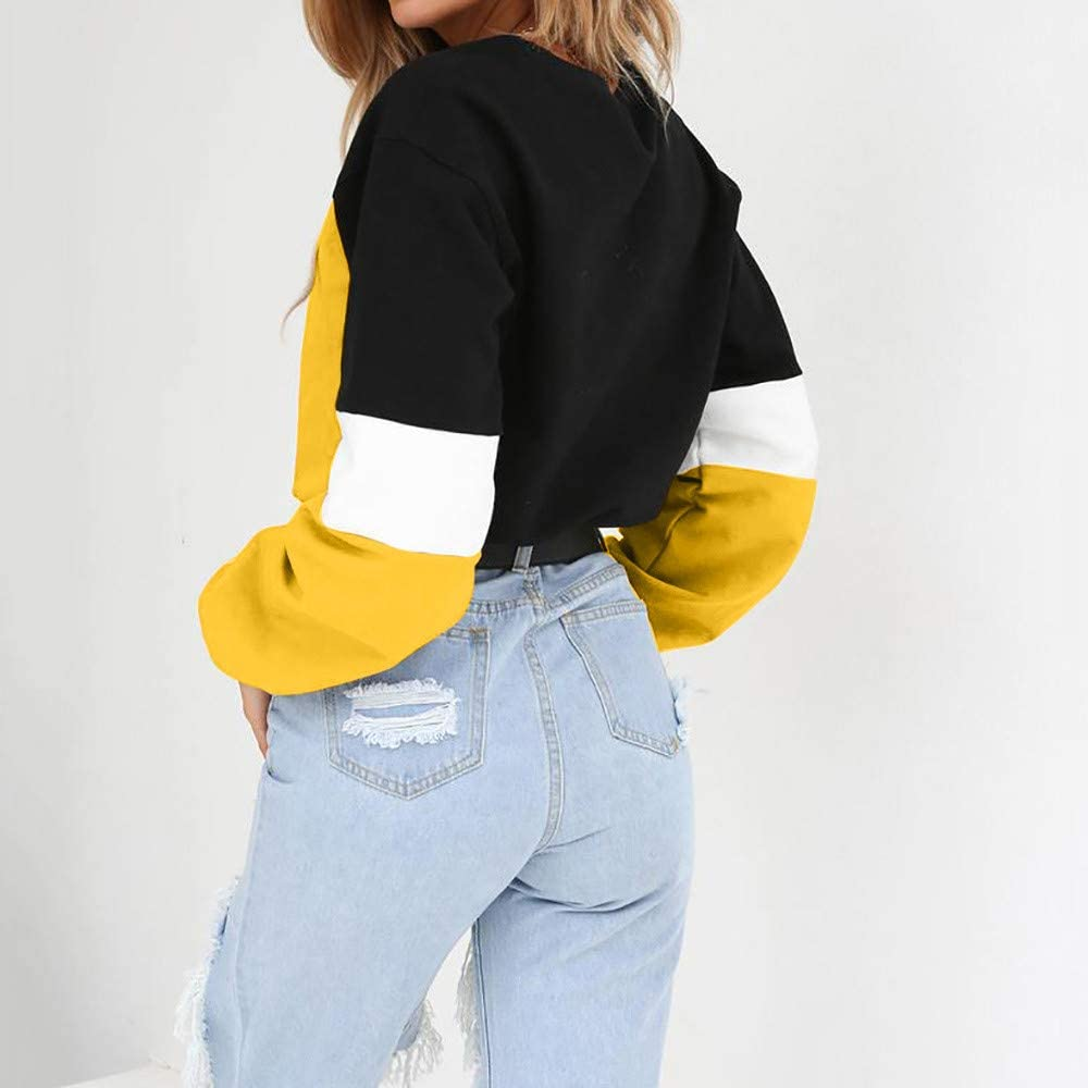S, B-Yellow Women Color Block Splice Pullover Vintage Long Sleeve Sweatshirt Crop Top Blouse