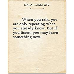 Dalai Lama - When You Talk - 11x14 Unframed Typography Art Print - Great Gift for Literature Lovers