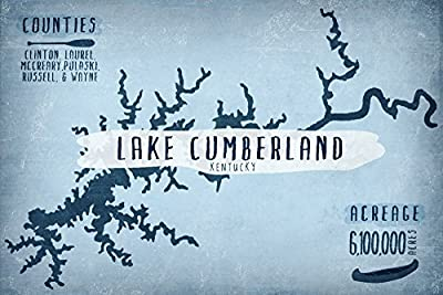 Lake Cumberland, Kentucky - Lake Essentials - Shape, Acreage and County (12x18 Collectible Art Print, Wall Decor Travel Poster)