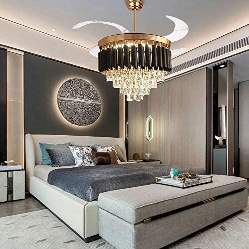 Crystal Ceiling Fan Modern Chandelier Indoor Luxury Hiding Quiet Retractable Ceiling Fan Light LED 3 Color Setting Remote Control 42 Inch