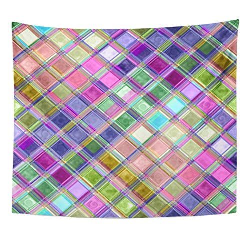 Semtomn Tapestry Artwork Wall Hanging Purple Unique Colorful Mosaic Glass Custom Turquoise Jewels Tones 60x80 Inches Home Decor Tapestries Mattress Tablecloth Curtain Print