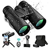 UNEGROUP Binoculars for Adults, 10x42 HD Low Light Night Vision Compact Binocular, Waterproof Lightweight Binocular Prism FMC BAK4 for Outdoor Birdwatching Sports Games with Smartphone Adapter Tripod