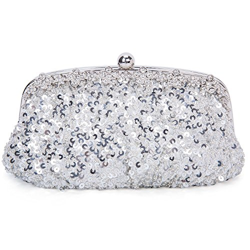Purse Silver Ladies Sequin Bag Prom Bag Wedding Beaded Baglamor Bag Vintage Handbag Party Bridal Evening OawHRcq6A