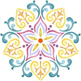 """Lotus Mandala Stencil - (size 14""""w x 14""""h) Reusable Wall Stencils for Painting - Best Quality Decor Ideas - Use on Walls, Floors, Fabrics, Glass, Wood, and More…"""