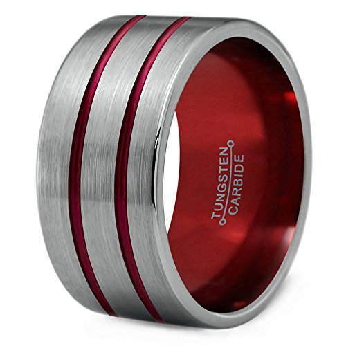 Line Tungsten Black Double (Chroma Color Collection Tungsten Wedding Band Ring 12mm for Men Women Red Grey Flat Double Line Pipe Cut Brushed Polished Size 7.5)