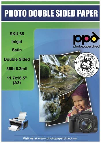 "PPD Inkjet Satin Luster Double Sided Brochure Paper A3 (11.7x16.5"" Similar to 11x17"") 35lbs. 130gsm x 100 Sheets (PPD065-100)"