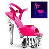 Pleaser Pf Ankle Strap Textured Platform Sandal, Neon Hot Pink Pat/Slv Chrome, Size - 6