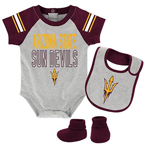 NCAA Arizona State Sun Devils Newborn & Infant Blitz Bodysuit, Bib & Booties, Heather Grey, 6-9 Months by NCAA by Outerstuff