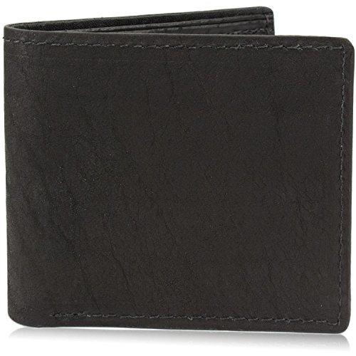Genuine Bison/Buffalo Leather Bifold Wallet Handmade (8 Card Slots, Black)