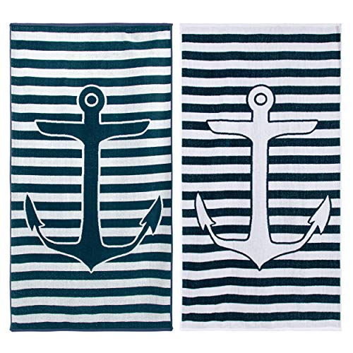 Superior 100% Egyptian Cotton, 450 GSM, Yacht Club Oversized Beach Towel (Set of 2) 34