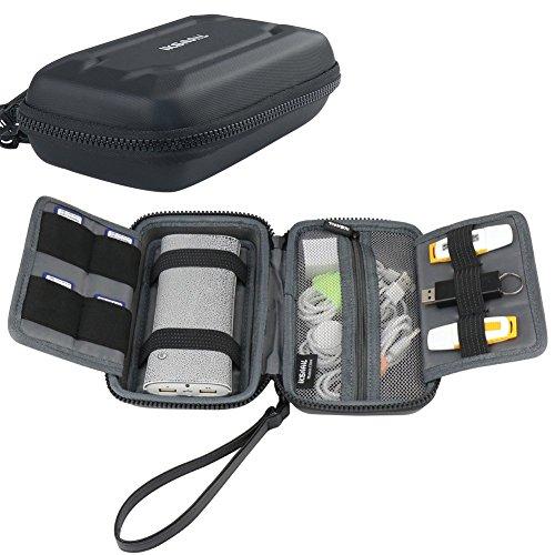 Iksnail EVA Portable Electronics Accessories Carrying Storage Case Power Bank USB Data Cords Multiple External Hard Drive Healthcare Grooming Kit Travel Bag, Black by iksnail