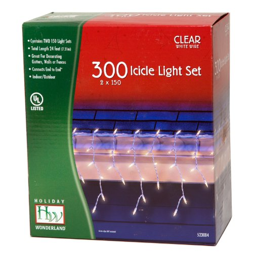 Holiday Wonderland 300-Count Clear Christmas Icicle Light Set