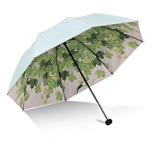 Green Tree Leaf Folding Travel Sun Umbrella Sunblock UV Protection UPF 50+...